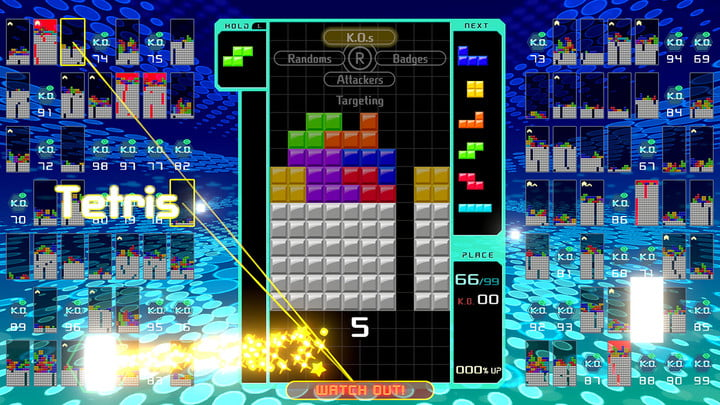 Colorful blocks all over the screen as a player tries to line-up a Tetris.