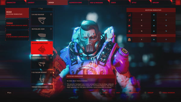 A character with a cyborg face in a menu.