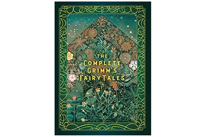Photo shows the cover of The Complete Grimm's Fairy Tales. It's a deep green with gold lettering for the title and a background of trees, leaves, and flowers