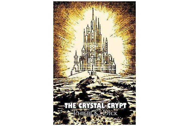 Photo shows the book's cover, with the title and author's name at the bottom and an illustration of a crystal palace