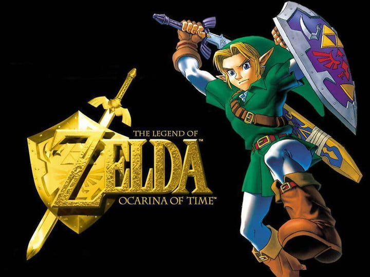 Links weilds the Master Sword in a The Legend of Zelda: Ocarina of Time Master Quest promo.