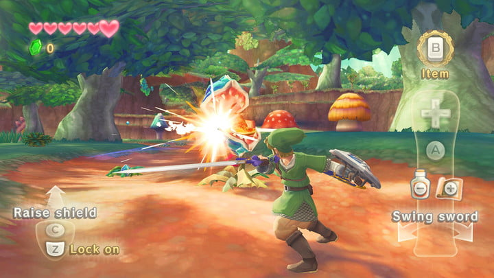 Link slashing an enemy in the woods.