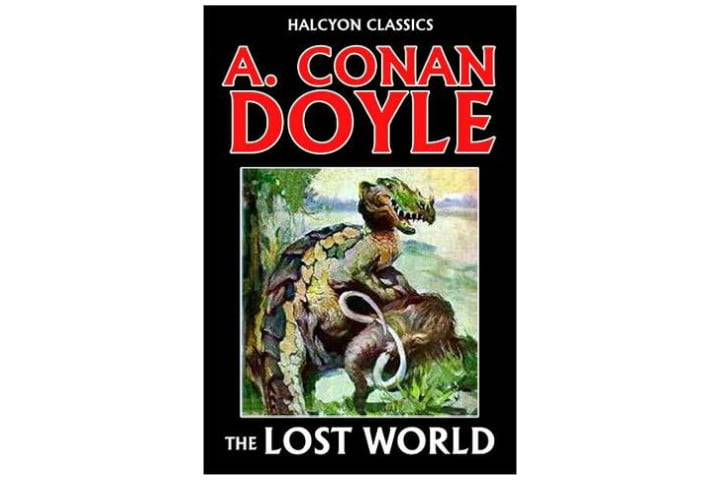 Photo shows the cover of The Lost World, with the title written in a white font and the author's name in large red letters on a black background. There's also a picture of some kind of fierce looking dinosaur.
