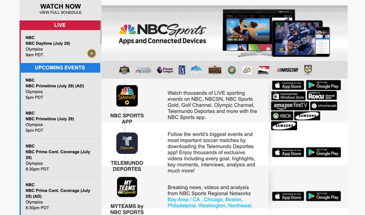 Webpage to download the NBC Sports app.