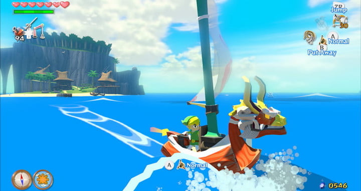 Link sails on his ship in The Legend of Zelda: Wind Waker.