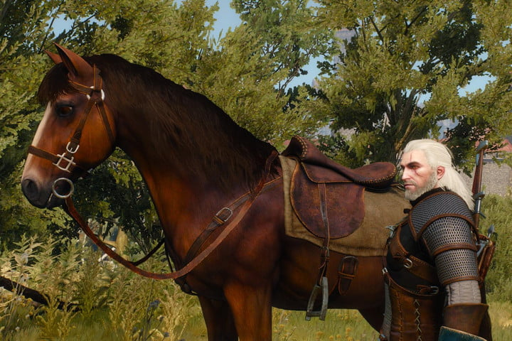 Geralt from The Witcher 3 and his horse Roach.