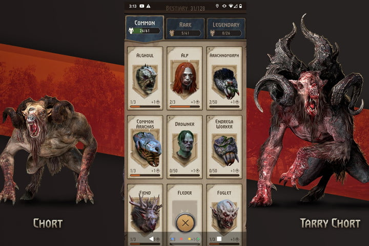 The Bestiary from The Witcher Monster Slayer flanked by two enemies.