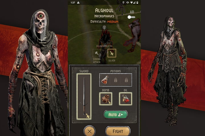 The pre-battle screen from The Witcher Monster Slayer.