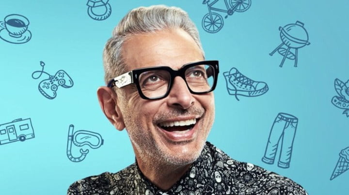 Jeff Goldblum smiling against a backdrop of illustrations of jeans, sneakers, coffee mugs, and other images.