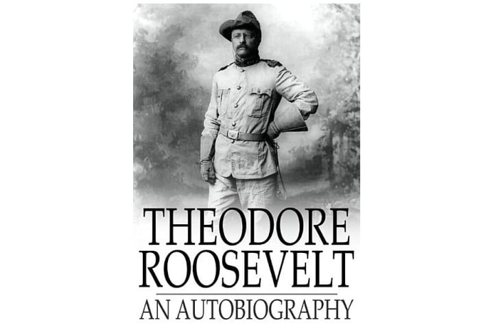 The book cover shows a black and white picture of Theodore Roosevelt, with the book title in large font beneath