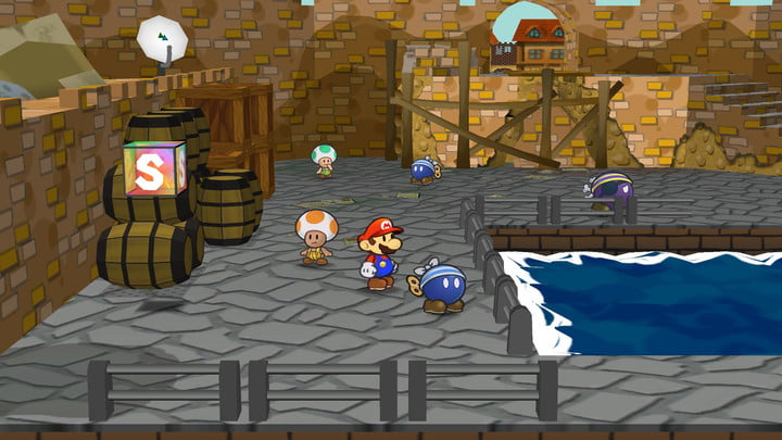 Paper Mario with Toad in Paper Mario: The Thousand-Year Door.