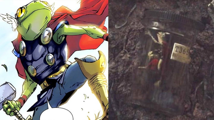 Split image, showing Throg from the comics on the left and Throg from the Loki series on the right.