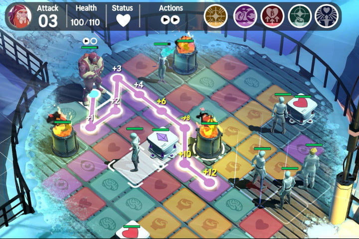 Ticket to Earth game on Android, showing moving along colored tiles.