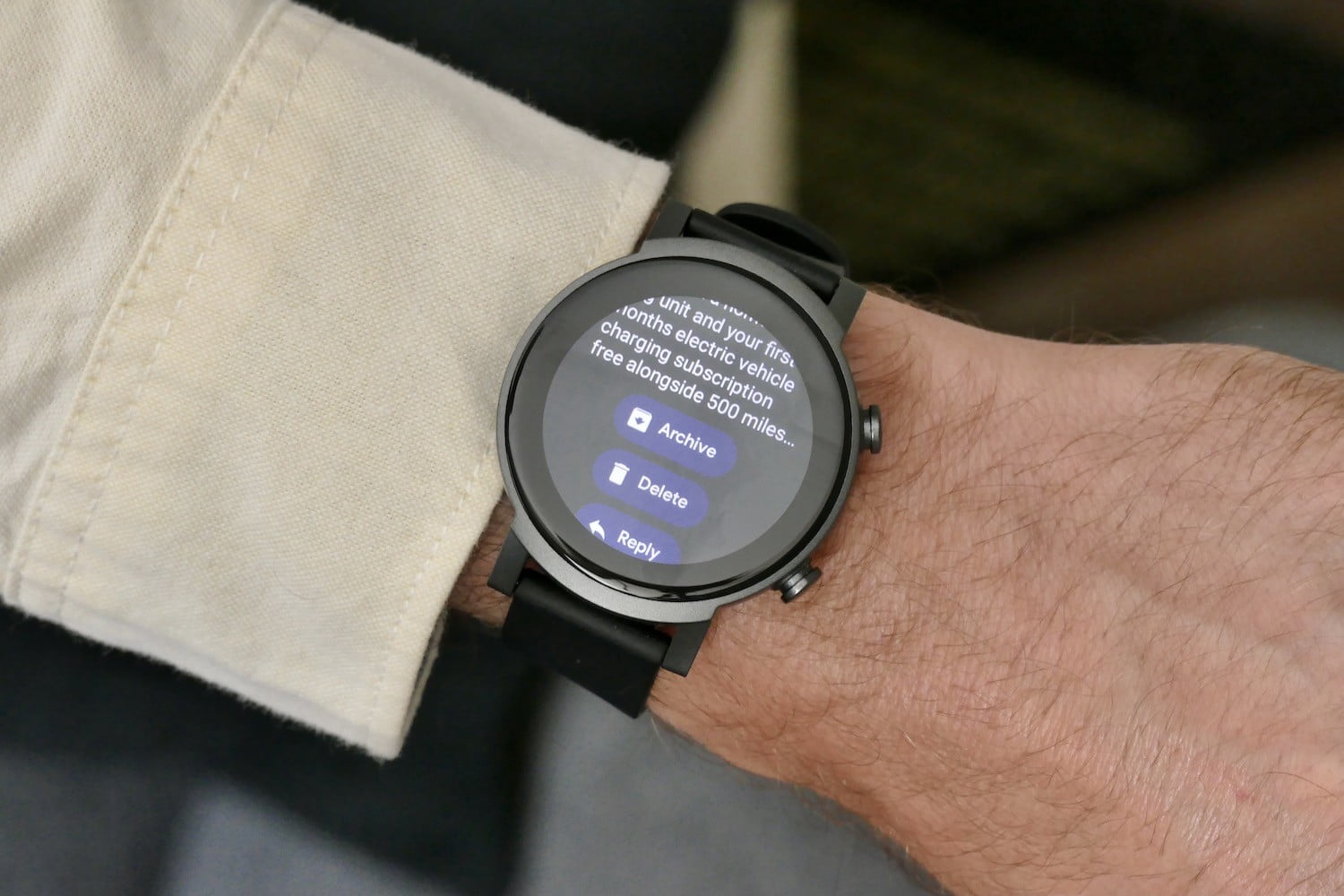 Notification responses on the TicWatch E3