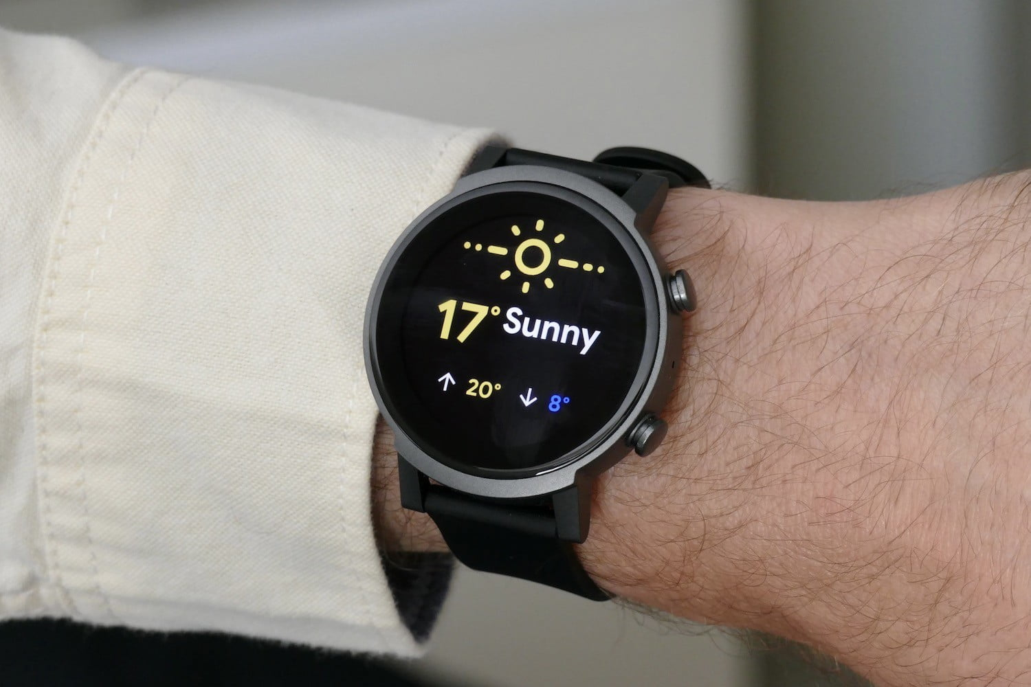 Weather app on the TicWatch E3.