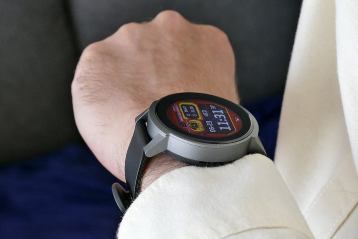 Mobvoi TicWatch E3 on the wrist, seen from the side.