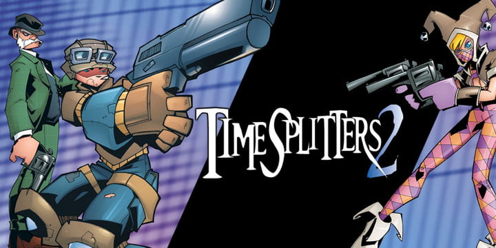 An ad for TimeSplitters 2 featuring armed soldiers.