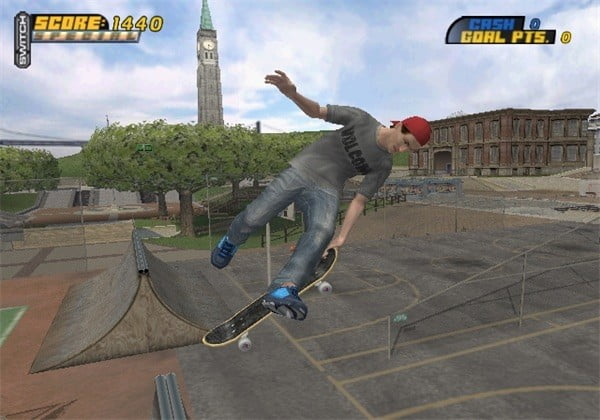 A skater hits an aerial trick in a half-pipe in Tony Hawk's Pro Skater 4.