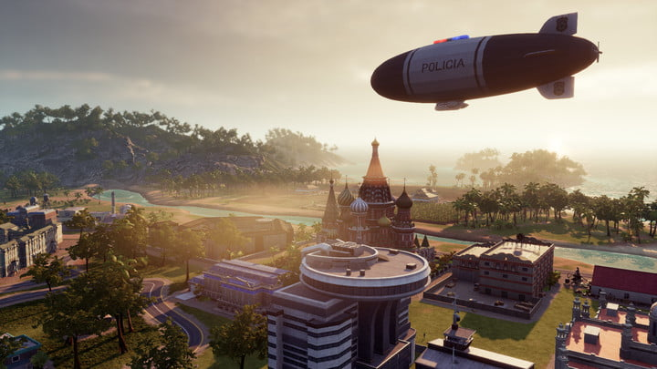 Police flying over an island in Tropico 6.