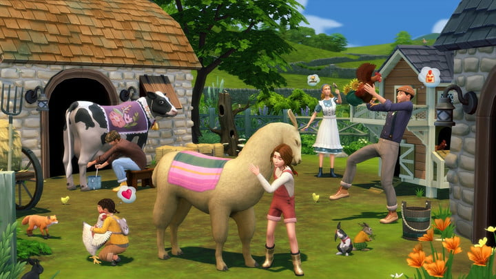 Sims befriend animals in The Sims 4: Cottage Living expansion.