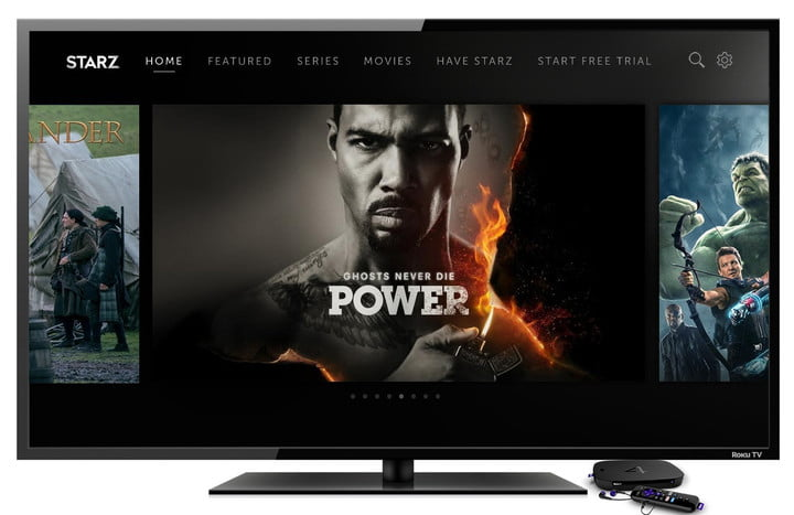 starz app now available on roku tv 3 colors background