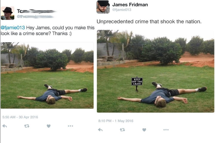 Man hilariously photoshops sent in images and posts to Twitter.