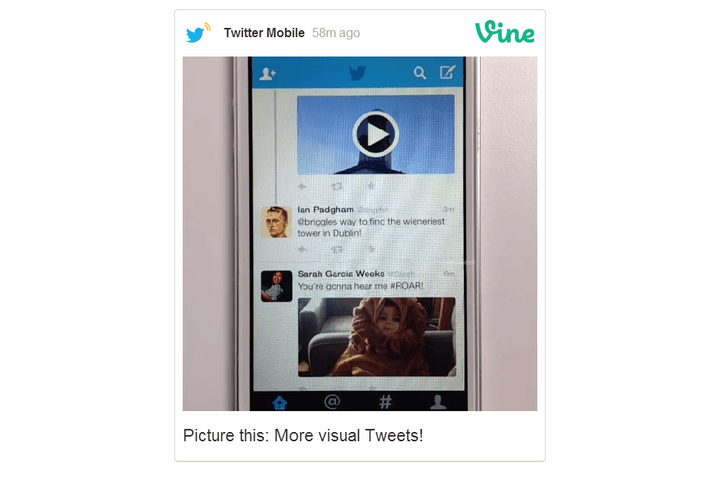 less clicking looking twitter images vine videos will now show tweets pictures