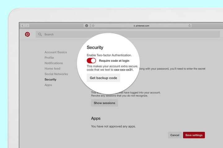 pinterest security update two factor authentication