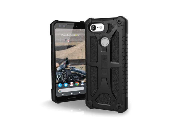 Front and back view of a black Urban Armor Gear Monarch Case for the Google Pixel 3.