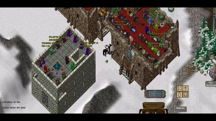Man on a horse in a snowy town in Ultima Online.