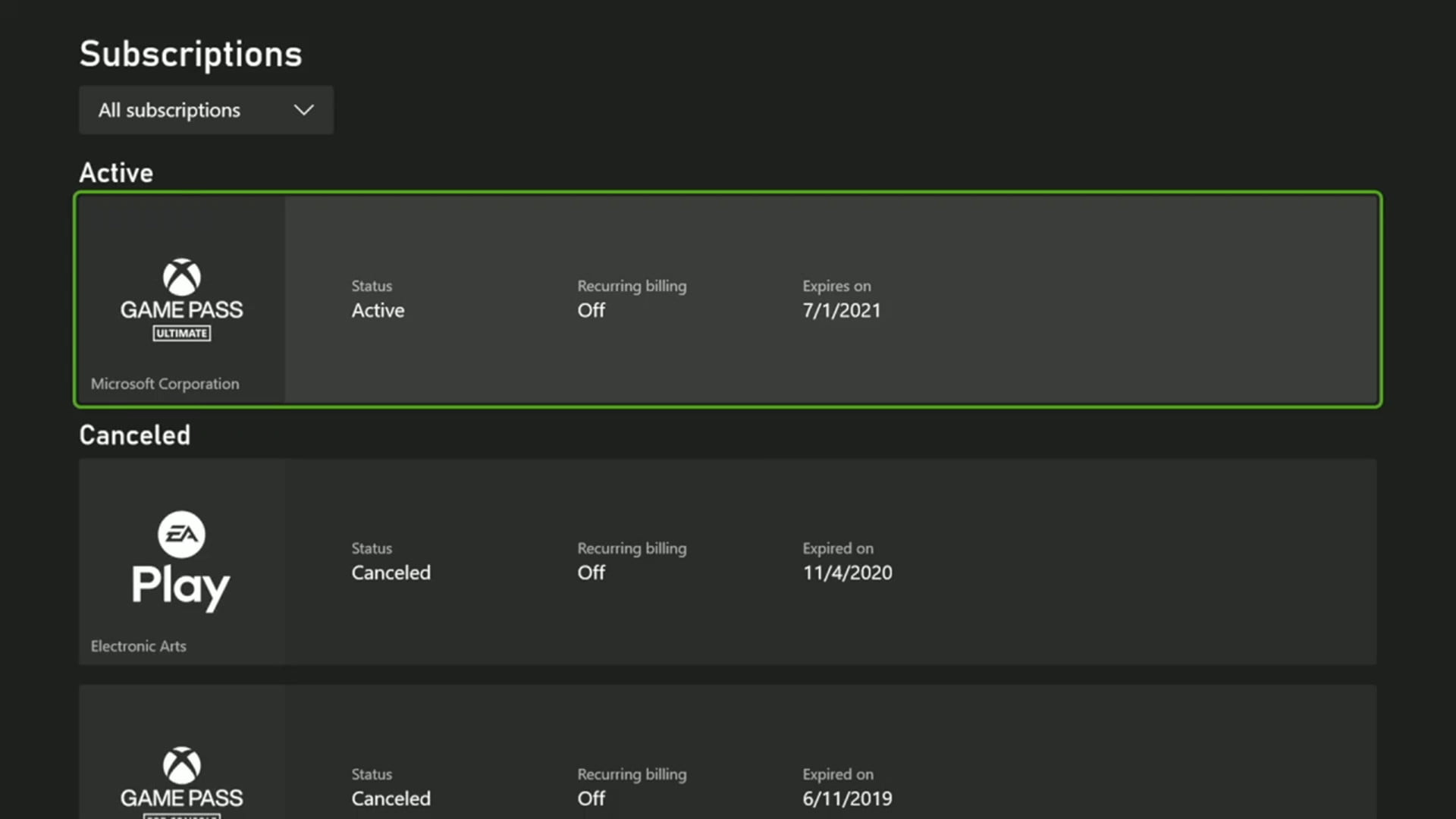 List of available Xbox subscriptions.