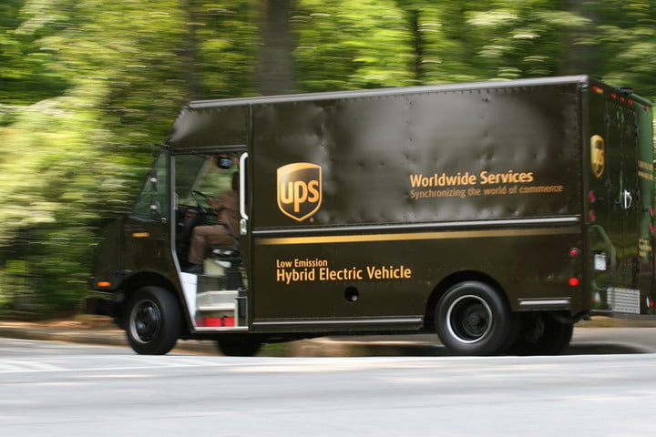 ups electric delivery truck driving