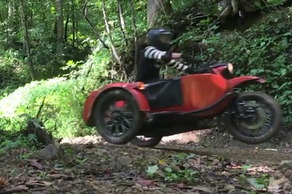 Jumping and mudding with sidecar motorcycles