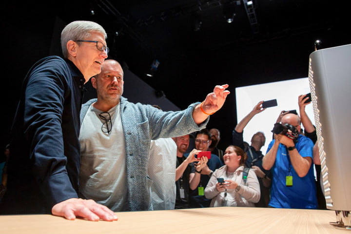 Jony Ive (right) and Apple CEO Tim Cook look over the new Mac Pro Display