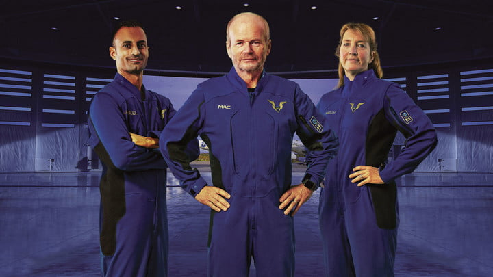 Virgin Galactic pilot spacesuits, modelled by Virgin Galactic Pilot Jameel Janjua, Virgin Galactic Chief Pilot Dave Mackay, and Virgin Galactic Pilot Kelly Latimer