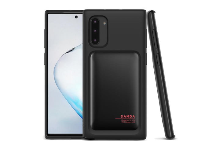 Photo shows the front and side view of a Galaxy Note 10 in a black TPU case from VRS Design