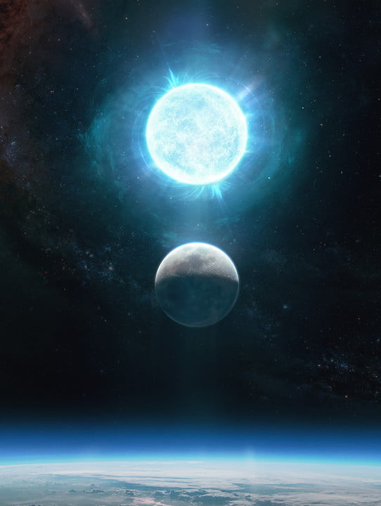 The white dwarf ZTF J1901+1458 is about 2,670 miles across, while the moon is 2,174 miles across. It is depicted above the Moon in this artistic representation.