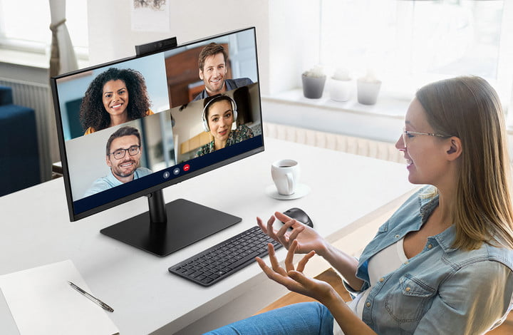 Samsung Webcam Monitor comes with a pop-up webcam at the top.