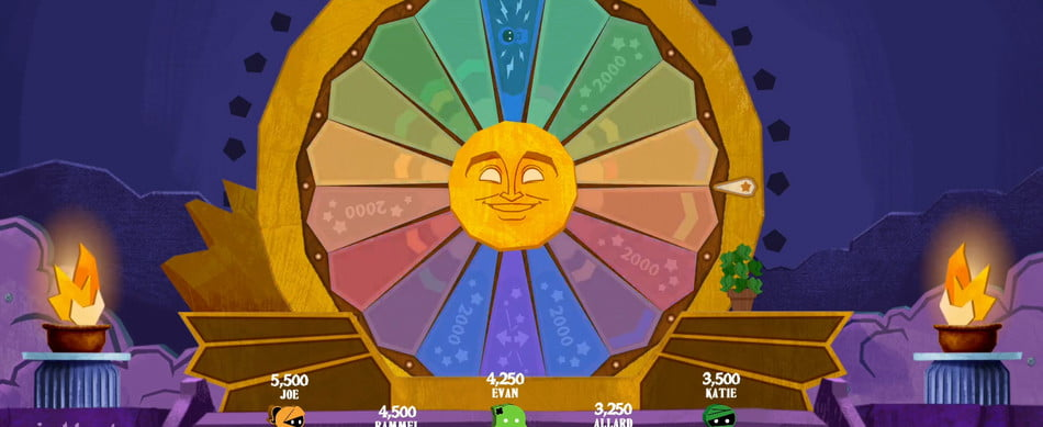 Players spin the Wheel of Enormous Proportions.