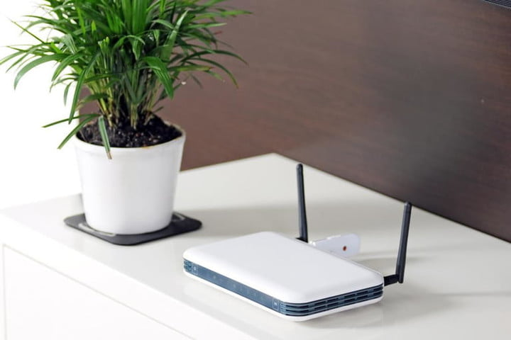Wi Fi router on a table.