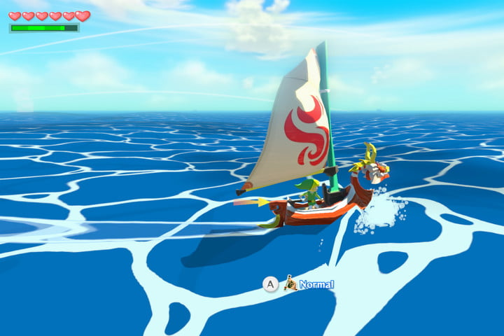 Link sails the open sea in The Legend of Zelda: The Wind Waker