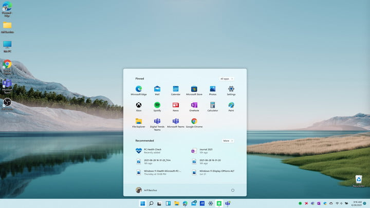 The Windows 11 Start Menu now centered on the screen.