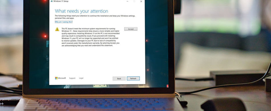 Unsupported Windows 11 waiver.