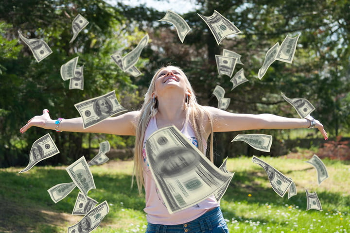 author prize junk email woman throwing money in the air