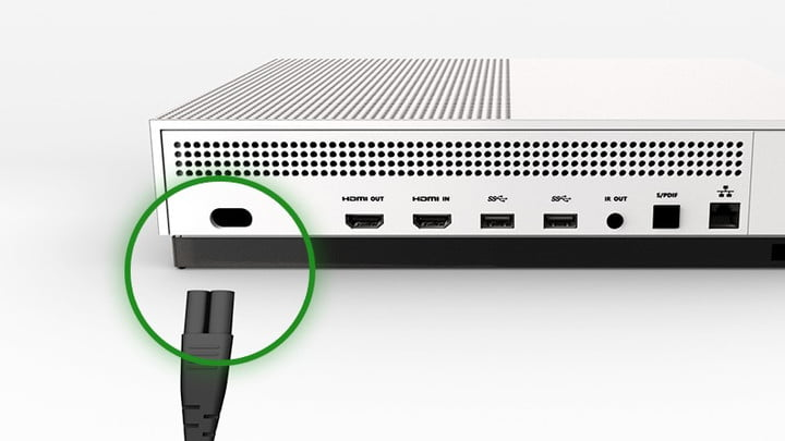 Diagram showing where to plug the power cord into an Xbox One.