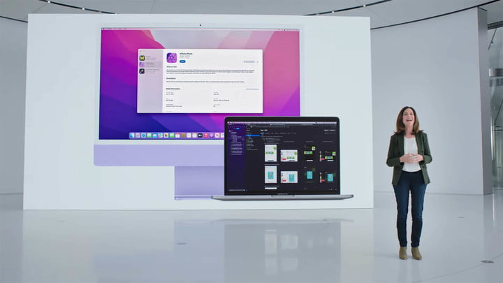 A slide from WWDC 2021 showing Xcode running on an iMac and MacBook Pro