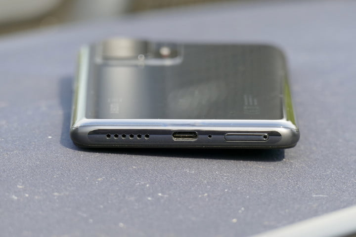 Xiaomi 11T Pro seen from the bottom.