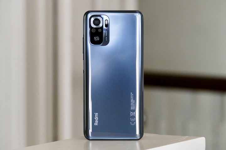 The Xiaomi Redmi Note 10S seen from the back.