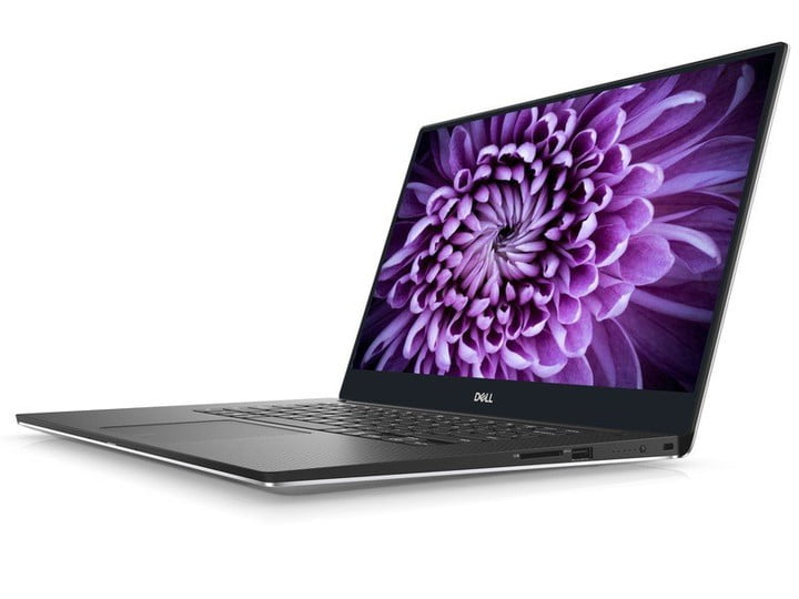 The Dell XPS 15 Touch Laptop (9th Gen) purple flower on screen, white background.