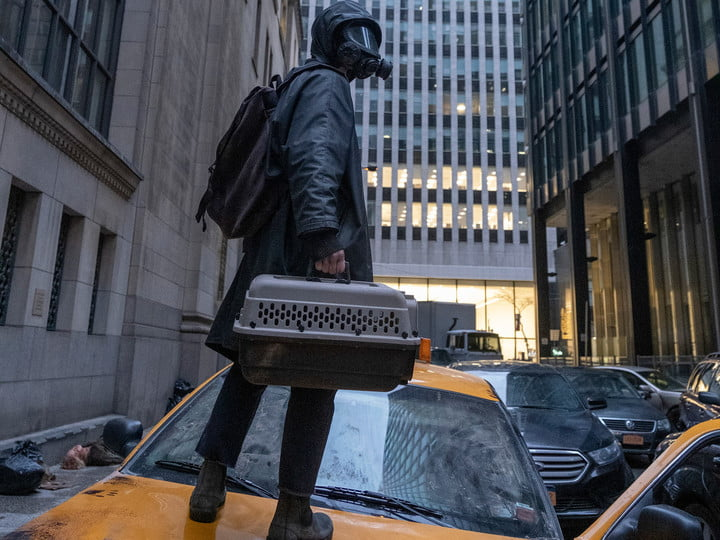 Yorick stands on top of a taxi in a scene from Y: The Last Man.